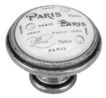 Bouton Paris porcelaine Argent vieilli