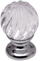 Bouton torsade Zamak / cristal Base chromée