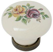 Bouton zamak porcelaine Bronze / ivoire et fleur