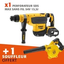Lot perforateur SDS-MAX sans fil 54 V 13,3 J + souffleur offert