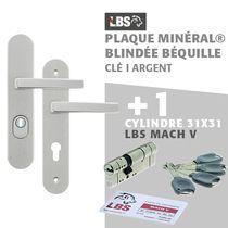 Lot ensemble sur plaque MINERAL blindée béquille clé I argent + cylindre MACH V 31x31
