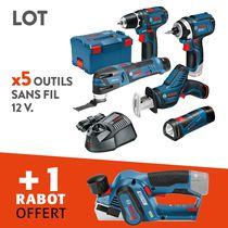 Lot 5 outils sans fil 12v + rabot offert