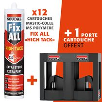 "Mastic-colle MS polymère FIX ALL ""High Tack"" LOT 12 MS HIGH TACK + PORTE CARTOUCHE OFFERT"