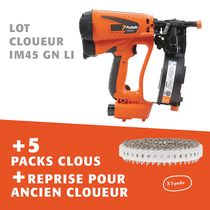 Lot cloueur IM45 GN LI + 5 packs clous + reprise pour ancien cloueur