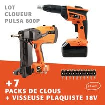 Lot cloueur PULSA800P + 7 packs de clous + visseuse plaquiste 18V