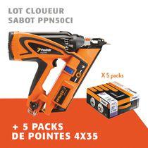 Lot cloueur sabot PPN50CI + 5 packs de pointes 4x35