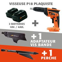 Lot visseuse P18 Li 18V + 2 batteries 4 ah + adaptateur vis en bande P55EC + perche EXP580
