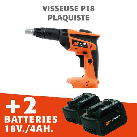 Visseuse plaquiste P18 Li 18V + 2 batteries 4 ah
